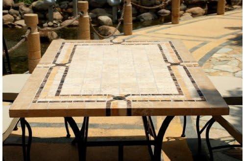 EMPERADOR: Table mosaique de jardin en marbre et travertin + ...