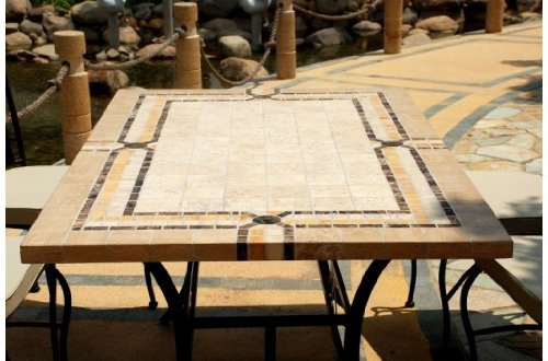 EMPERADOR: Table mosaique de jardin en marbre et travertin + ...
