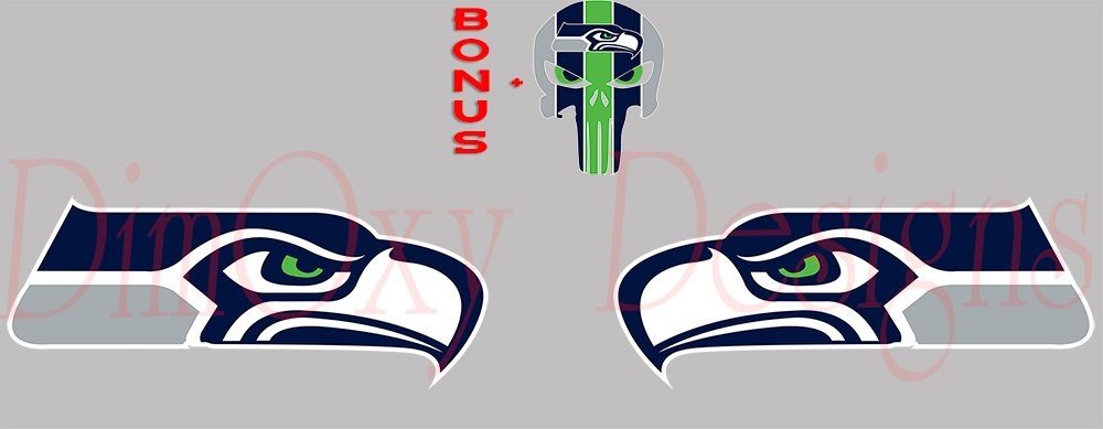 One Stop Nails Seahawks Pair of Logos (2 Decals 4'' Each Longest Side) Facing Each Other + Free Bonus 2'' Seahawks Punisher (Skull) Full Color Vinyl Decals/Stickers. (SB1) by One Stop Nails