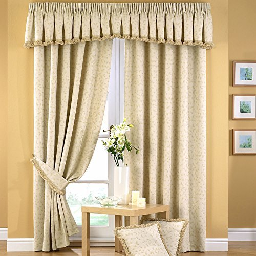 Price comparison product image Folia Luxury Leaf Jacquard Lined Pencil Pleat Curtains,  Natural - 66 Width x 90 Drop by Dove Mill Curtains