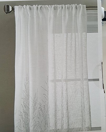 DKNY Urban Meadow Botanical Nature Floral Branches Leaves Vines Semi Sheer Window Curtains 100% Cotton 50 by 96-inch Set of 2 Road Pocket Panels Beige Tan Flowers Donna Karan Drapery (Gray)