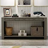 P PURLOVE Console Table for Entryway Hallway 64' Long Sofa Table with Storage Drawers and Bottom Shelf (Khaki)