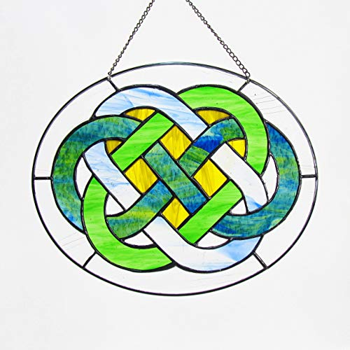 Custom Made by Hand Celtic Wedding Knot Stained Glass Window Hanging