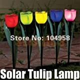 Worldoor Newly-designed 4pcs Outdoor Yard Garden Path Way Solar Power LED Tulip Landscape Flower Lamp Lights Romantic Decoration