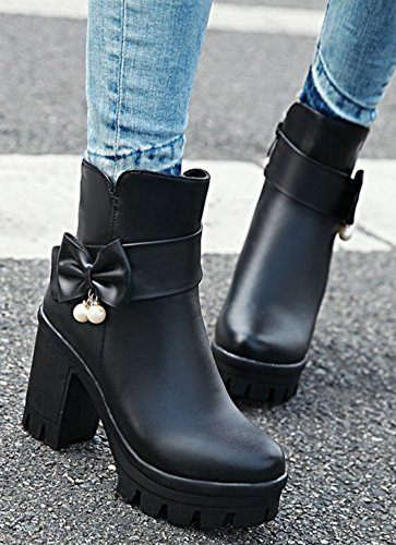 Aisun Womens Elegant Beaded Dressy High Block Heel Booties Inside Zip Up Pointy Toe Platform Ankle Boots With Bows Black 9XBQvD