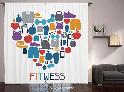Thermal Insulated Blackout Window Curtain [ Fitness,Sports and Healthcare Icons Forming a Heart Shape Clean Eating Athletic Training Decorative,Multicolor ] for Living Room Bedroom Dorm Room Classroom -