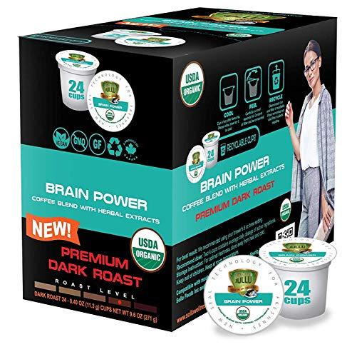 SOLLO Brain Power Dark Coffee Pods MCT, Acai & Vitamins B1, B5, B6, B9, B12, D3 Nootropic Brain Booster- Improves Memory…