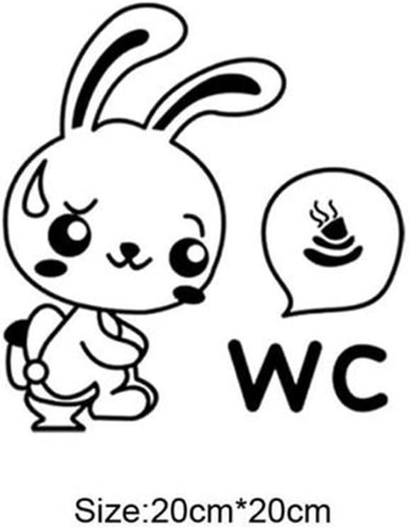 PRENKIN Toilette Lapin Cartoon Autocollants dr/ôles WC Stickers muraux pour Salle de Bain D/écoration