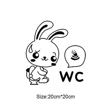 Topker Cartoon Kaninchen Wc Aufkleber Lustige WC Wandaufkleber Für  Badezimmer Dekoration