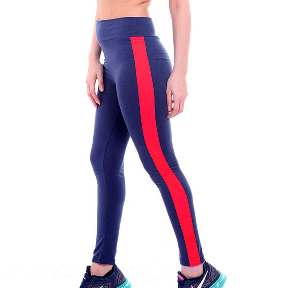 d232c08599c9a7 Damen Leggings Jogginghose High Waist Tights Frauen Sporthose Elatisch  Yogahose Leder Patchwork Push Up Trainingshose Laufenhose