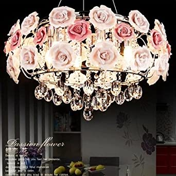 Lilamins Rosa Rosen Kristall Kronleuchter Lampe Schlafzimmer