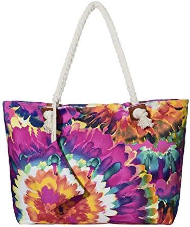 Bolso de Playa Grande Impermeable con Cremallera Bolso de Hombro Acuarela Vintage Flower Motif