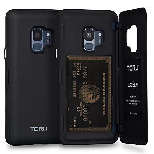 TORU CX Slim Galaxy S9 Wallet Case with Hidden ID Slot Credit Card Holder Hard Cover for Samsung Galaxy S9 - Matte Black by TORU
