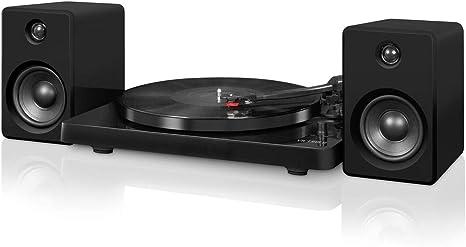 Victrola Modern 3-Speed Bluetooth Turntable with 50 Watt Speakers, Black Piano Finish