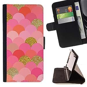 BullDog Case - FOR/Sony Xperia Z3 D6603 / - / scales pattern gold pink glitter bling /- Monedero de cuero de la PU Llevar cubierta de la caja con el ID Credit Card Slots Flip funda de cuer