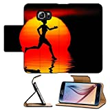 Luxlady Premium Samsung Galaxy S6 Flip Pu Leather Wallet Case IMAGE ID: 34191357 Woman jogging Against a sunset ocean