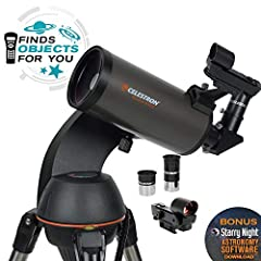 The Celestron NexStar 90SLT is a computerized telescope that offers a database of more than 40,000 stars, galaxies, nebulae, and more. The telescope locates your object with pinpoint accuracy and tracks it. At the heart of the telescope's Mak...