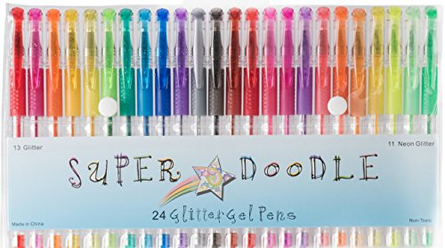 Super Doodle - Glitter Gel Pens - 24 Glitter Colors - Premium Quality Gel Pen Set for Crafting, Doodling, Drawing, Scrapbooking, and Adult Coloring Books