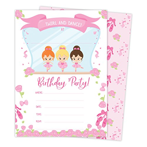 Ballet Birthday Invitations - Ballerina Style 1 Happy Birthday Invitations Invite Cards (25 Count) with Envelopes & Seal Stickers Boys Girls Kids Party (25ct)