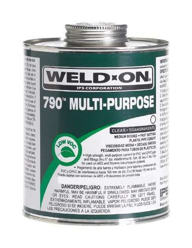Clear Pvc Cement (Weld-On 10260 1/4 Pint 790 Multi-Purpose PVC Cement, Clear,4 fl.Oz, 1-Pack)
