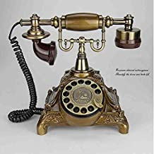 European Antique Craft Telephone Rotary Dial Retro Home Landline Caller ID Telephone,Bronze