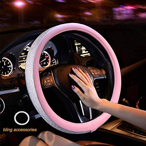 New Diamond Leather Steering Wheel Cover with Bling Bling Crystal Rhinestones, Universal Fit 15 Inch Anti-Slip Wheel Protector for Women Girls ()