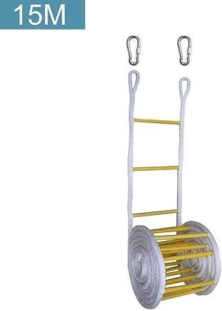 ZzWwYy Escalera de Cuerda Rescate Incendios Escalera de Emergencia Rescate Escalera de Escape con Seguridad de Altura, Ventanas y Balcones, con ganchos-10M Blanco: Amazon.es: Hogar