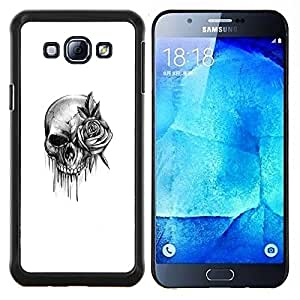 Dragon Case - FOR Samsung Galaxy A8 A8000 - skull rose rock roll death metal ink - Caja protectora de pl??stico duro de la cubierta Dise?¡Ào Slim Fit