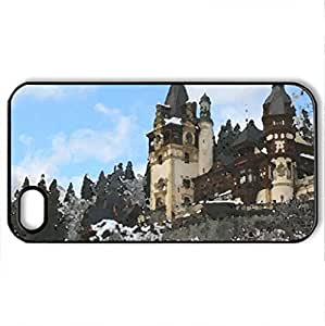Peles Palace Romania winter most beautiful european landscape countries - Case Cover for iPhone 4 and 4s (Medieval Series, Watercolor style, Black)