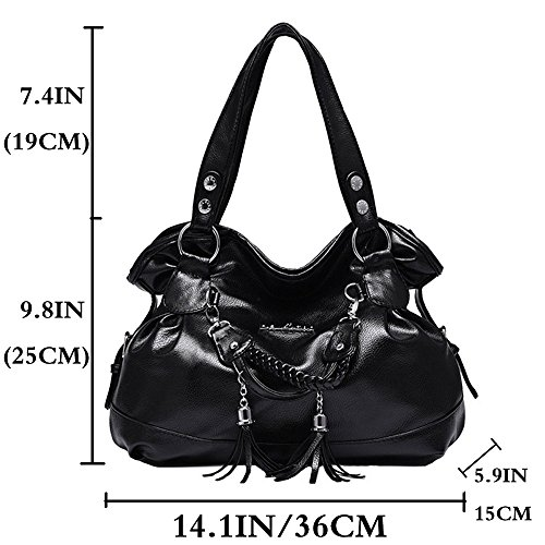 Women Black Ladies FiveloveTwo Purse Crossbody Tassel Bags Tote Satchel Shoulder Top for Retro handle Handbags SxqO64