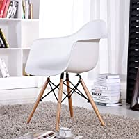 FurnitureR Set of 2 Dining Chairs Eames Style Mid Century Modern Molded Plastic Dining Arm Chair Wood Legs White