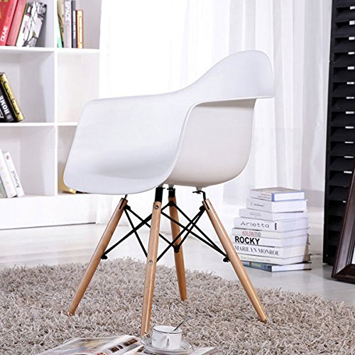 FurnitureR Set of 2 Dining Chairs Eames Style Mid Century Modern Molded Plastic Dining Arm Chair Wood Legs (Modern Wood Chair)