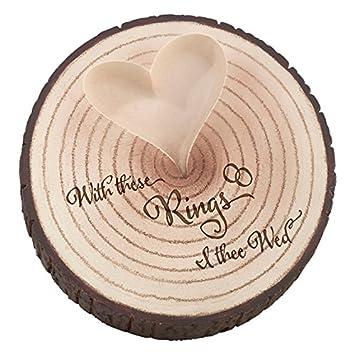 lillian rose wood slice tree trunk wedding ring holder - Wedding Ring Holder