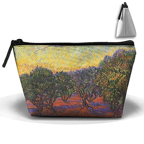 Dream Oil Painting - Trees Forest Painting Toiletry Pouch Makeup Bag Trapezoidal Storage Travel Bag Phone Coin Purse Cosmetic Pouch Wallet Pencil Holder Zipper