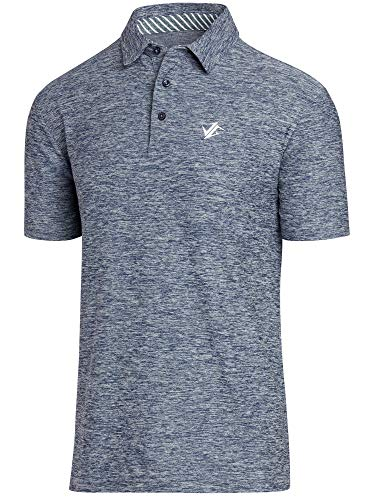 Stretch Golf Polo Cotton - Jolt Gear Golf Shirts for Men - Dry Fit Short-Sleeve Polo, Athletic Casual Collared T-Shirt Blue