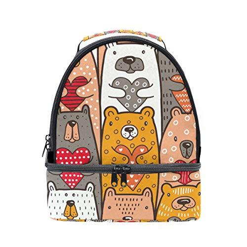 para escuela Bolsa almuerzo hombro térmica para de con de con para con Alinlo el la corazones oso correa pincnic ajustable diseño q7Un6d5x