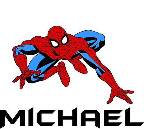 (Custom Names Personalized Name Spider Man Super Hero Wall Decals for Kids Bedroom/Boys Wall Decor Vinyl Sticker Art/Cartoon Characters TV Shows Comic Peter Parker Size 20x20 inch)