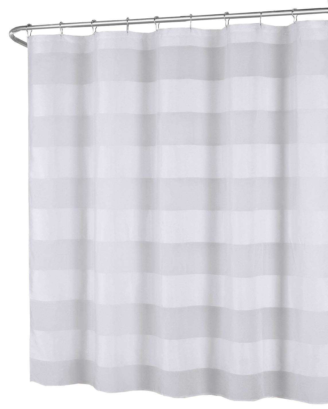 Amazon.com: White Fabric Shower Curtain: Wide Stripe Design, 70\