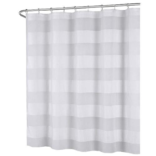 White Fabric Shower Curtain Wide Stripe Design