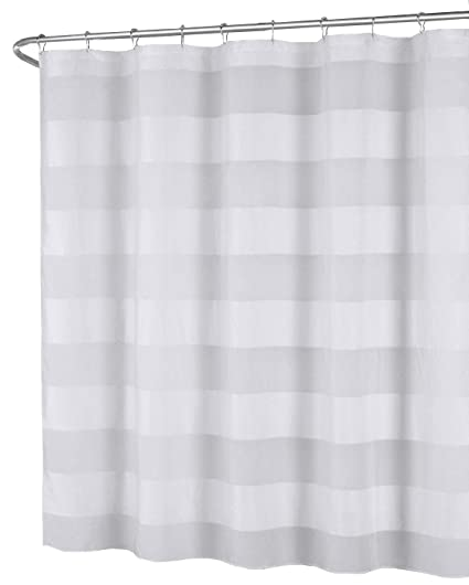 Amazon White Fabric Shower Curtain Wide Stripe Design 70 X
