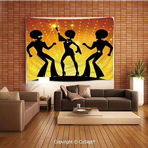 Wall Hanging Tapestry,Dancing People Disco Night Club Afro Hairs Gold Colored Bokeh Decorative,Wall Hanging Bedding TapestryBlack Yellow Orange
