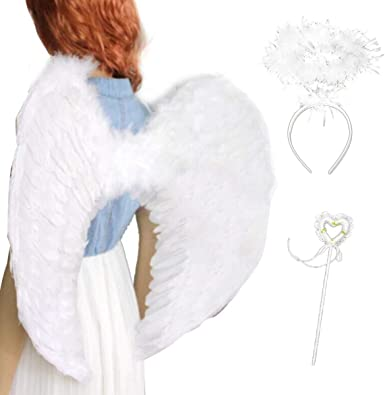 Party LED Light Angel Feather Wings Tutu Halo Photo Prop Stage Show Costume