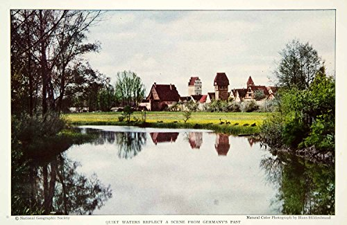 1931 Color Print Bavaria German City Town Dinkelsbuhl Historical Image NGM8 Lake - Original Color Print from PeriodPaper LLC-Collectible Original Print Archive