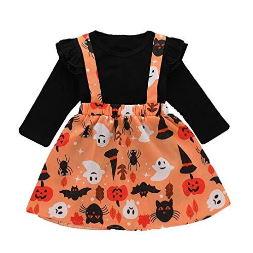 Suma-ma (12M-4M) Kids Baby Girls 2Pcs Halloween Flower Bud Edge Long-Sleeve Blouse + Cartoon Printed Suspender Skirt by Suma-ma