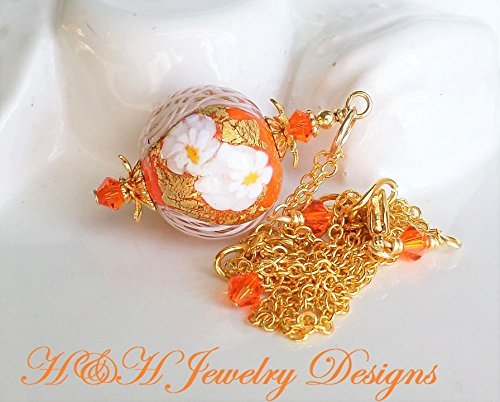 Orange Murano Glass Pendant Necklace by H&H Jewelry Designs