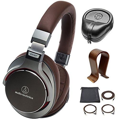 Audio-Technica SonicPro Over-Ear High-Resolution Audio Headphones Gun Metal Grey (ATH-MSR7GM) with Slappa HardBody PRO Full Sized Headphone Case Black & Universal Wood Headphone Stand