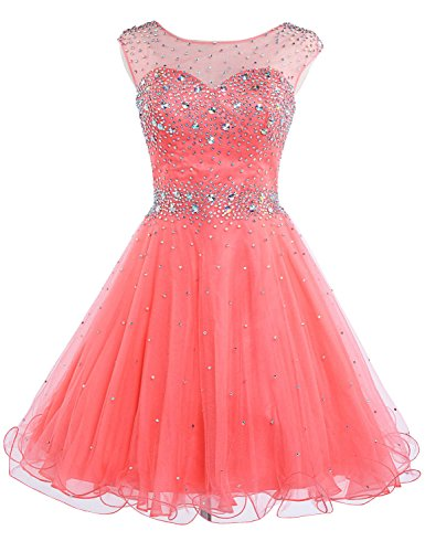 Belle House Women's Short Tulle Beading Homecoming Dress Prom Gown Coral Sweet 16