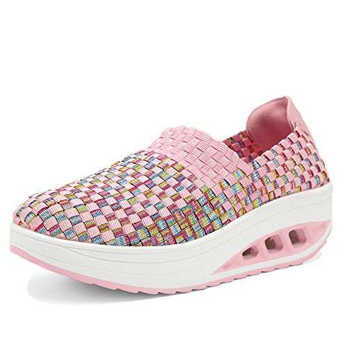 Casual Shoes Multicolor Platform Fashion Women EnllerviiD Pink Slip Weave 1598 Sneakers Braid On TvXxwq