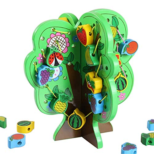 - Konvinit Wooden Lacing Threading String Intelligent Tree Beads, Various Shaped Fruit Pattern Blocks Toddlers - Montessori Educational Developmental Toy Preschool Children