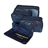 Packing Cubes Storage Bag Travel Essential Bags-in-Bag Luggage Package Cosmetic Make-up Laundry Toiletry Case Pocket Clothes Shoe Lingerie Bra Underwear Storage Bag Luggage Organizer -6 pcs (dot-blue)